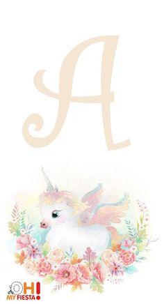 Alfabeto de Unicornio Bebé. Unicorn Birthday Parties, Unicorn Party, Unicorn Decor, My Little Pony Unicornio, Unicorn Printables, Blue Nose Friends, Free Printable Art, Baby Unicorn, Pony Party