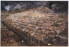 Anselm Kiefer, Osiris and Isis, 1985 - 1987 And there is this painting which is not from German mythology, but from Egypt, from history's oldest surviving death and resurrection myth. If you look closely, the huge pyramid dominating the painting is made up, not of stone blocks, but of massive books.