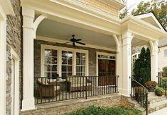 65 Stunning Farmhouse Porch Railing Decor Ideas - Page 26 of 65 - Abidah Decor Front Porch Railings, Front Porch Design, Porch Pillars, Front Porch With Columns, Wrought Iron Porch Railings, Porch Trim, Patio Railing, Veranda Design, Front Porch Makeover