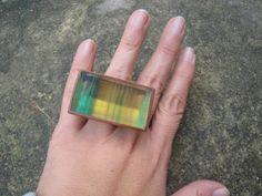 AR Essencial Joias Eco - Friendly - Anel Fluorita Verde e Amarelo