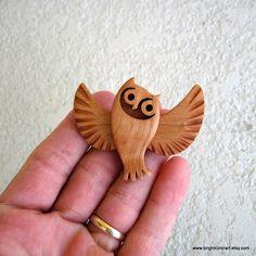 Owl - Flying Owl Natural Cherry Wood Brooch. $14.50, via Etsy.