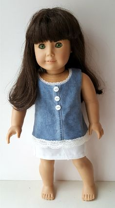 American Girl Washed Blue Tunic and White Skirt by ILuvmCreations on Etsy