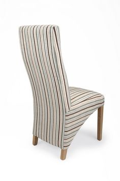 http://www.bonsoni.com/buxo-stripe-duck-egg-blue-chair-pair-by-sherman  A dining chair with sumptuous upholstery in a fashionable chenille style stripe fabric. Each chair has a sprung and belted seat area for additional comfort and to retain bounce and shape. Solid oak legs. Supplied fully assembled. Sold in sets of two.  http://www.bonsoni.com/buxo-stripe-duck-egg-blue-chair-pair-by-sherman