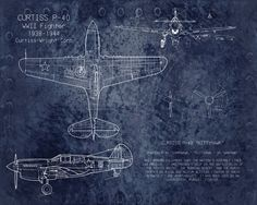 Curtiss P40 WWII airplane blueprint art  8 x 10 by ScarletBlvd, $25.00