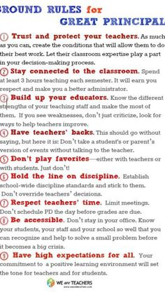 Things a principal should know!