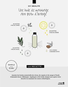 Natural Makeup - DIY Beauté : une huile de massage anti peau dorange - RTBF Tendance - You only need to know some tricks to achieve a perfect image in a short time. Peau D'orange, Diy Beauté, Homemade Cosmetics, Body Hacks, Skin Care Remedies, Beauty Recipe, Natural Cosmetics, Trends, Diy Makeup