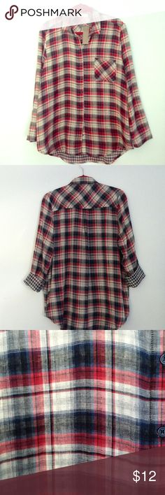 NWT Plaid Blouse Sophie Rue red and navy plaid button down blouse with roll up blue and white check print sleeves. Size XL, NWT sophie rue Tops Button Down Shirts