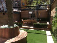 Pergola with swing West Village backyard Pergola Swing, Gazebo, Pergola Ideas, Backyard, Patio, West Village, Deck, Garden, Outdoor Decor