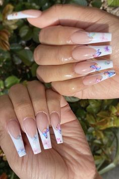Butterfly Nail Designs, Butterfly Nail Art, Cute Acrylic Nail Designs, Long Nail Designs, Art Designs, Design Art, Design Ideas, Bling Acrylic Nails, Summer Acrylic Nails