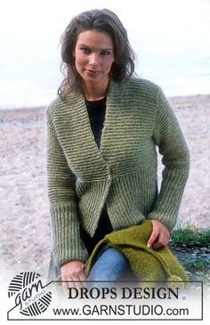 DROPS 84-6 - DROPS Cardigan in Silke-Tweed and Vivaldi, and Felted Purse in Eskimo - Free pattern by DROPS Design