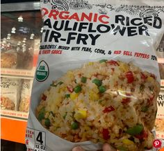 This brand has taken riced cauliflower a step further, tossing the cauliflower crumbles with peas, corn, and bell peppers to create an easy stir-fry base. They've even included a savory sesame-ginger sauce to season the side dish. Don't worry, you don't have to thaw the entire bag at once, there are four 12-ounce bags inside. Cauliflower Stir Fry, Riced Cauliflower, Easy Stir Fry, Ginger Sauce, Frozen Meals, Fries, Side Dishes, Base, Organic