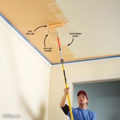 Pro painters share their secrets for producing a great-looking interior paint job. The work will go faster with less hassle too. Check out their tricks for wall painting and more. Textured Ceiling Paint, Best Ceiling Paint, Ceiling Paint Colors, Ceiling Texture, Colored Ceiling, Painting Ceilings Tips, Painting Trim, Ceiling Painting, Door And Trim Paint