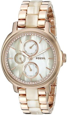 Fossil Women's ES3890 Rose Gold-Tone Stainless Steel and Faux-Horn Watch >>> Click on the image for additional details.