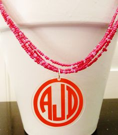 Items similar to Monogrammed Necklace - Multi Strand Beaded Necklace with Acrylic Monogram Pendant on Etsy Monogram Jewelry, Monogram Necklace, Jewelry Accessories, Unique Jewelry, Beaded Necklace, Necklaces, Wedding Jewelry, Initials, Personalized Items