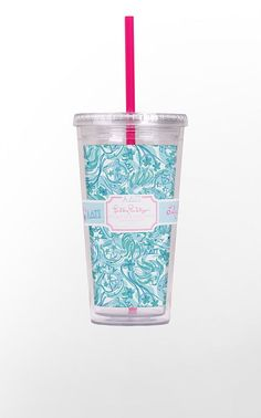 Designed exclusively for the sisters of Alpha Delta Pi - this lovely Lilly Pulitzer print is designed in shades of azure blue and white.  Hidden within the pattern, you will find your Greek letters, Alphie the lion, woodland violets and the ADPi coat of arms - stars and all!  Acrylic tumbler includes lid and straw.      Holds 20 oz     BPA-, Phthalate-, and Lead-Free  This is a limited edition item from the Lilly Pulitzer Sorority Collection.