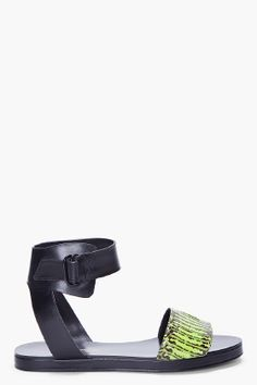 3.1 PHILLIP LIM Green Croc Domina Sandal. $540