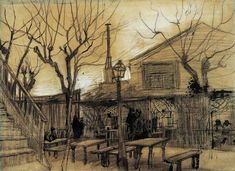 Guinguette, A - Vincent van Gogh . Created in Paris in February - March, Located at Van Gogh Museum Vincent Van Gogh, Van Gogh Drawings, Van Gogh Paintings, Pen Drawings, Desenhos Van Gogh, Banksy, Van Gogh Arte, Van Gogh Pinturas, Artist Van Gogh