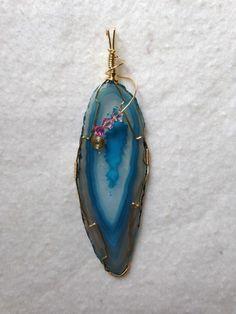 Handmade agate slice pendant for sale $27