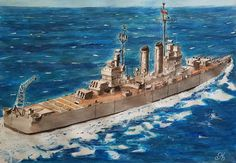 watercolor in paper  CL 02 Ohiggins (ex USS Brooklyn) 1936- 1951 US Navy. 1951-1993 Chilean Navy painted by Guillermo Gaete agosto 2017(valparaiso- Chile)
