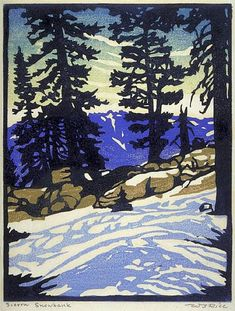 ✨ WILLIAM S. RICE, American (1873-1963) - Sierra Snowbank, late 1800s–mid 1900s, Color Woodcut, 228 x 176 mm