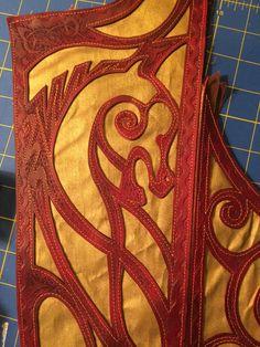 Progress Photo:  Rohirrim-inspired corset (back)