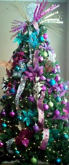my peacock christmas tree teal blue lime green purple tons - Purple And Lime Green Christmas Decorations