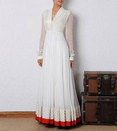 amazing White anarkali dress for girls Robe Anarkali, White Anarkali, Indian Anarkali, India Fashion, Ethnic Fashion, Asian Fashion, Women's Fashion, Mode Bollywood, Bollywood Fashion