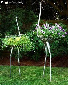 Swahili African Modern Kenyan Recycled Metal Ostrich Plant H .- Swahili African Modern Kenyan Recycled Metal Ostrich Plant Holders Metal type as a special hanging basket! What a garden highlight! Garden Art, Garden Projects, Plants, Garden, Garden Crafts, Outdoor Gardens, Plant Holders, Container Gardening, Garden Landscaping