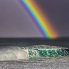 """""""I have been fortunate enough to see a lot of rainbows while spending so much time out in the nature, however this one at the Bonzai Pipeline on the North…"""""""