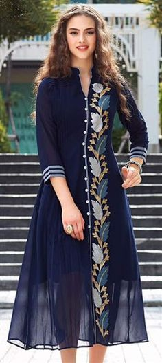 494732 Blue color family Long Kurtis in Faux Georgette fabric wi th Machine Embroidery, Resham, Thread work . Kurti Neck Designs, Dress Neck Designs, Kurta Designs Women, Kurti Designs Party Wear, Designs For Dresses, Blouse Designs, Stylish Dresses, Fashion Dresses, Indian Tunic