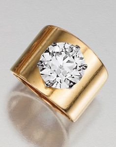 Set with a brilliant-cut diamond, on a plain yellow gold mount. - Buy Me Diamond Diamond Solitaire Rings, Diamond Jewelry, Gold Jewelry, Jewelry Rings, Fine Jewelry, Diamond Ring Settings, Emerald Rings, Ruby Rings, Vintage Jewellery