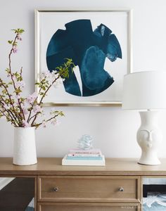 Medium scale navy abstract art for an entryway | Nicole Gibbons Studio
