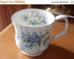 SALE Royal Albert Forget Me Not Mug Bone by VintageVarietyFinds