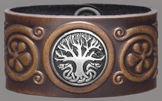 Beautiful embossed leather and pewter cuff by Celtic-Craft
