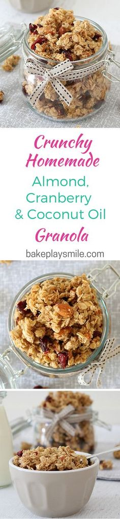 The yummiest granola recipe ever! And it's SO easy. Almond, Cranberry & Coconut Oil Granola Clusters... yum!