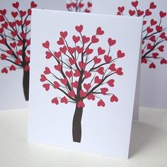 Oh So Beautiful Paper: Etsy Roundup – Valentine's Day Cards, Part 1 Valentine Tree, Kinder Valentines, Valentines For Kids, Valentine Day Cards, Valentine Ideas, Valentine's Day Paper Crafts, Crafts To Do, Card Crafts, Cute Thank You Cards