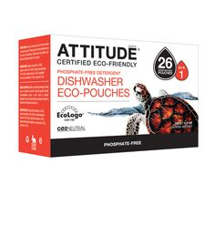 Attitude Dishwasher Eco-Pouches - Phosphate-free, fragrance-free, biodegradable, chlorine-free. Available @ Attitude Shop (Montreal, QC) #fragrancefree #unscented #scentfree