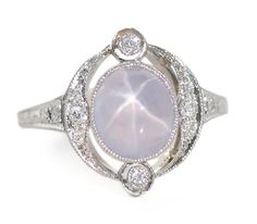 Art Deco Star Sapphire Ring c. 1925- The Three Graces
