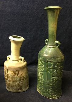 Vases created with porcelain and carved lino block tools and fired in gas kiln to 2370 degrees F.my lavender blue glaze and lustre green glaze Lavender Blue, Luster, Vases, Glaze, Porcelain, Carving, Pottery, Tools, Green