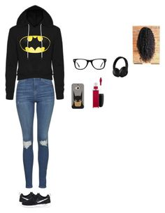 """#TEAMBATMAN"" by glasses1738 ❤ liked on Polyvore featuring Topshop, NIKE, Casetify, Muse, Beats by Dr. Dre and MAC Cosmetics"