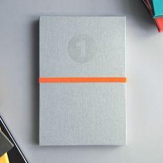 Handmade Light Grey Notebook with Orange Band  by Grafolita, €25.00