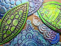 """Gelli™ Printing with DIY Foam Printing Plate (like meat trays) Stamps. Shown making 5x7"""" cards. Great way to use Zentangle patterns!"""