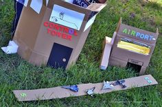 A little airport made from cardboard boxes