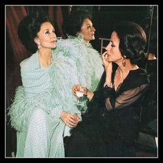 Jacqueline de Ribes and Gloria Guinness during a gala at Chateau de Versailles, 1973.  Photo by Reginald Gray.