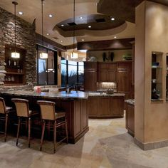 Stone wall, Weinstein Residence - contemporary - kitchen - phoenix - Process Design Build, L. Design Room, Home Design, Sink Design, Interior Design, Design Ideas, Wall Design, Design Inspiration, Round Kitchen, Stone Kitchen