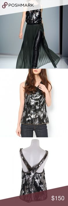 DIESEL T-Elitop Sequinned Chiffon tank Top Size: XS  Product Info  Composition: 100% Polyester Details: black chiffon top, sequin detailing, beaded trim, cross-over back, fully lined Diesel Black Gold Tops