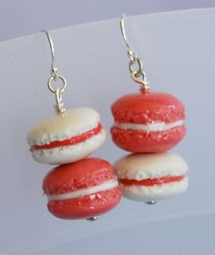 2.5 x 1.5 x 1.5 cm  No one can seem to get enough of these delicate French cookies. These earring creations have been designed in a variety of flavors. Created in polymer clay, the macarons have been painted with protective polymer coating, guarant