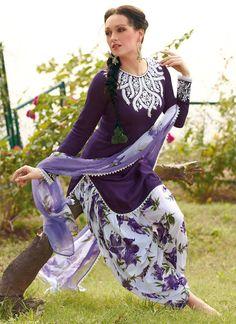 Purple Cotton Patiala Suit
