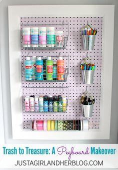 Ugly eyesore turned beautiful organization tool-- what a beautiful pegboard makeover! | JustAGirlAndHerBlog.com