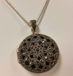 "Sterling Silver 925 Choker Pendant Locket with Floral Design of Marcasites 18"" #locket #pendant #marcasite #choker #necklace #sterlingsilver #jewelry"